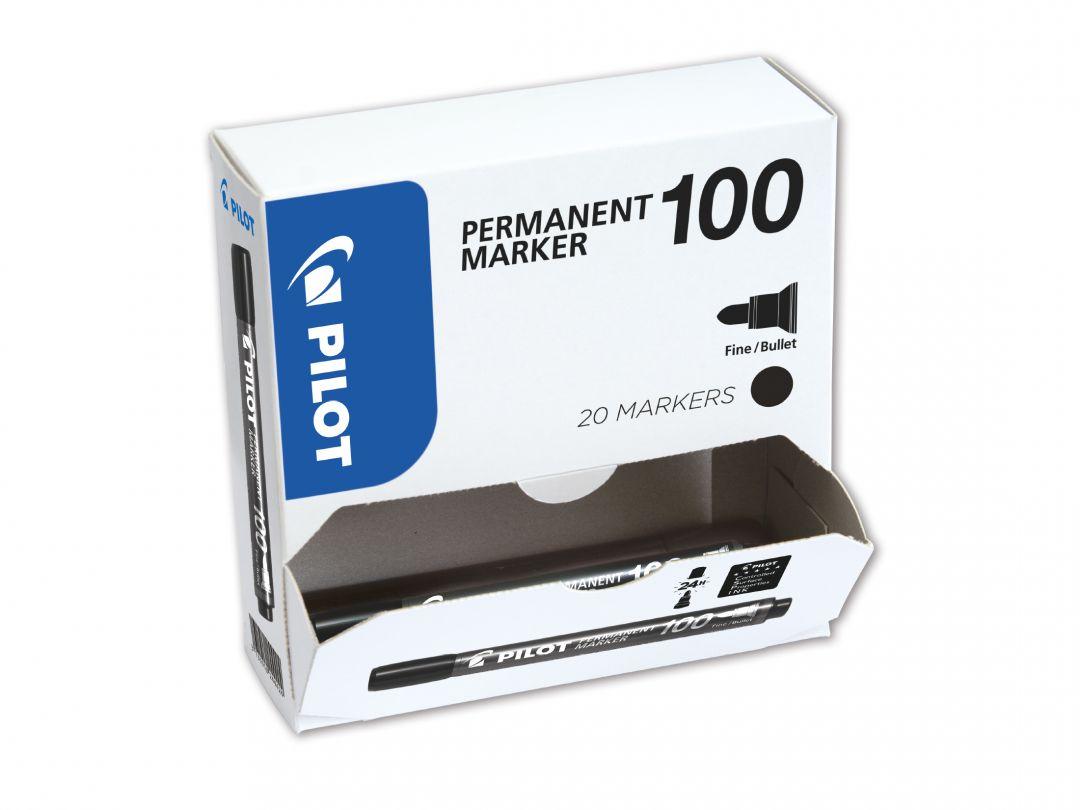 Permanent Marker 100 - Märkpennor - XXL pack - Svart - Fine Spets