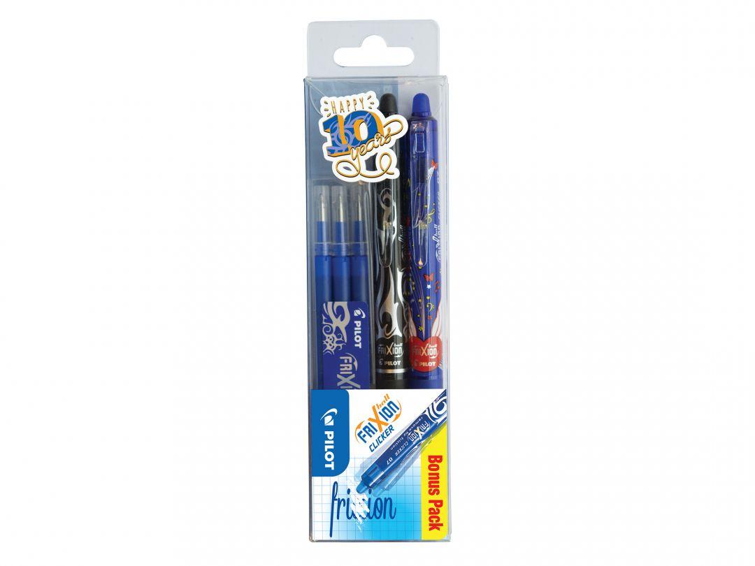 FriXion Ball Clicker 0.7 - Kulspetspennor med gelbläck - 3 pack - Blå - Medium Spets