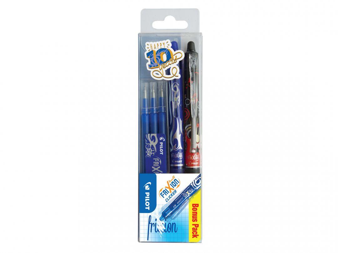 FriXion Ball Clicker 0.7 - Kulspetspennor med gelbläck - 3 pack - Svart, Blå - Medium Spets