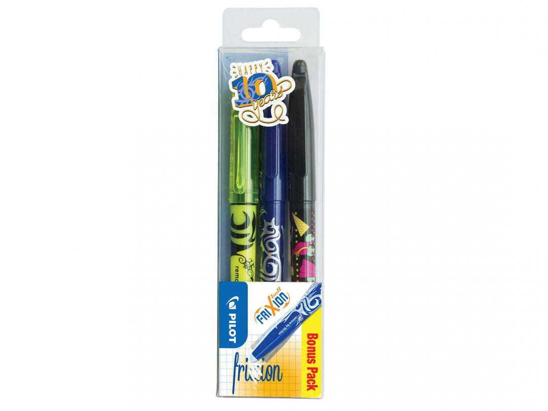 FriXion Ball - Kulspetspennor med gelbläck - 3 pack - Svart, Blå, Gul - Medium Spets