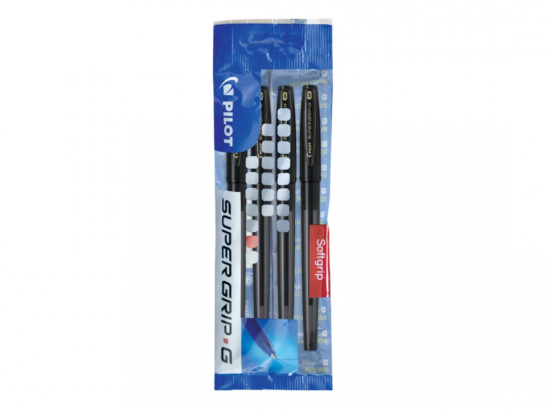 Super Grip G Cap - Ballpoint pen - Set of 4 - Black - Medium Tip