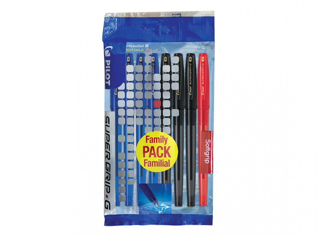 Super Grip G Cap - Ballpoint pen - Set of 8 - Black, Blue, Red - Medium Tip
