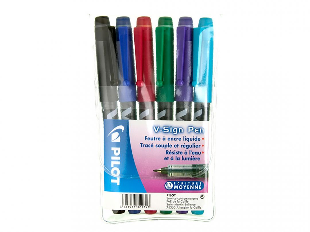 V-Sign Pen - Fineliner Marker Pen - Wallet of 6 - Assorted colors - Medium Tip