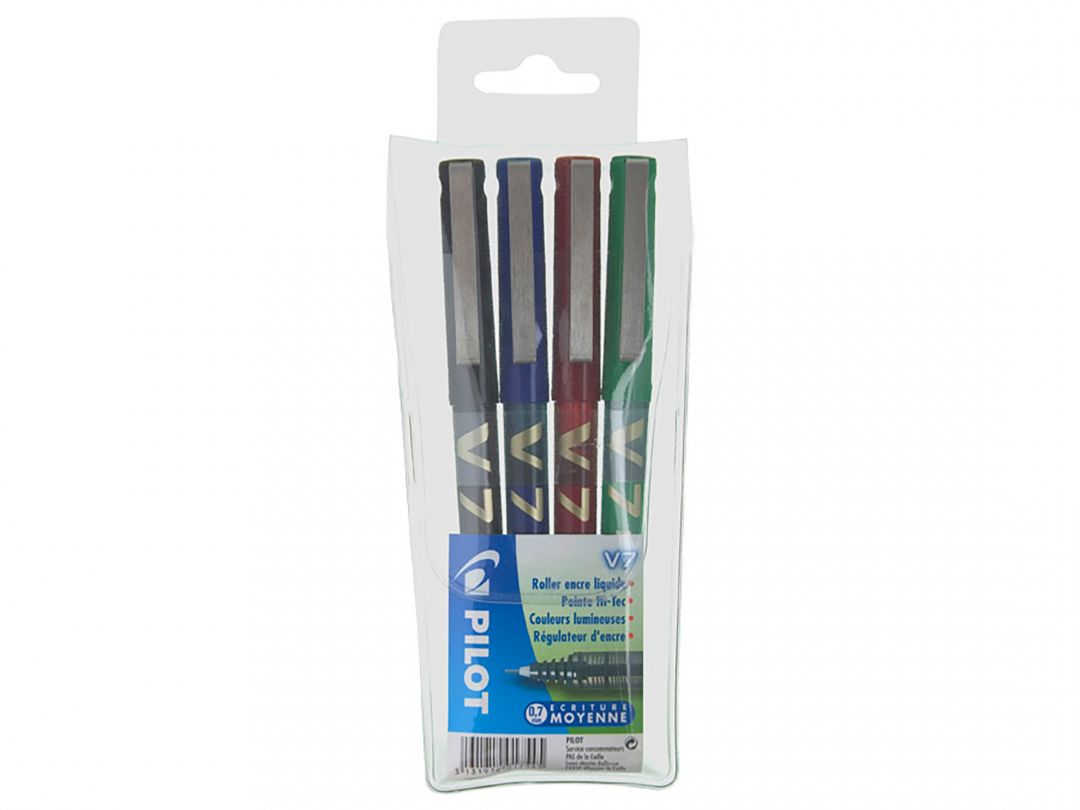 Hi-Tecpoint V7 - Liquid Ink Rollerball pen - Wallet of 4 - Black, Blue, Red, Green - Medium Tip