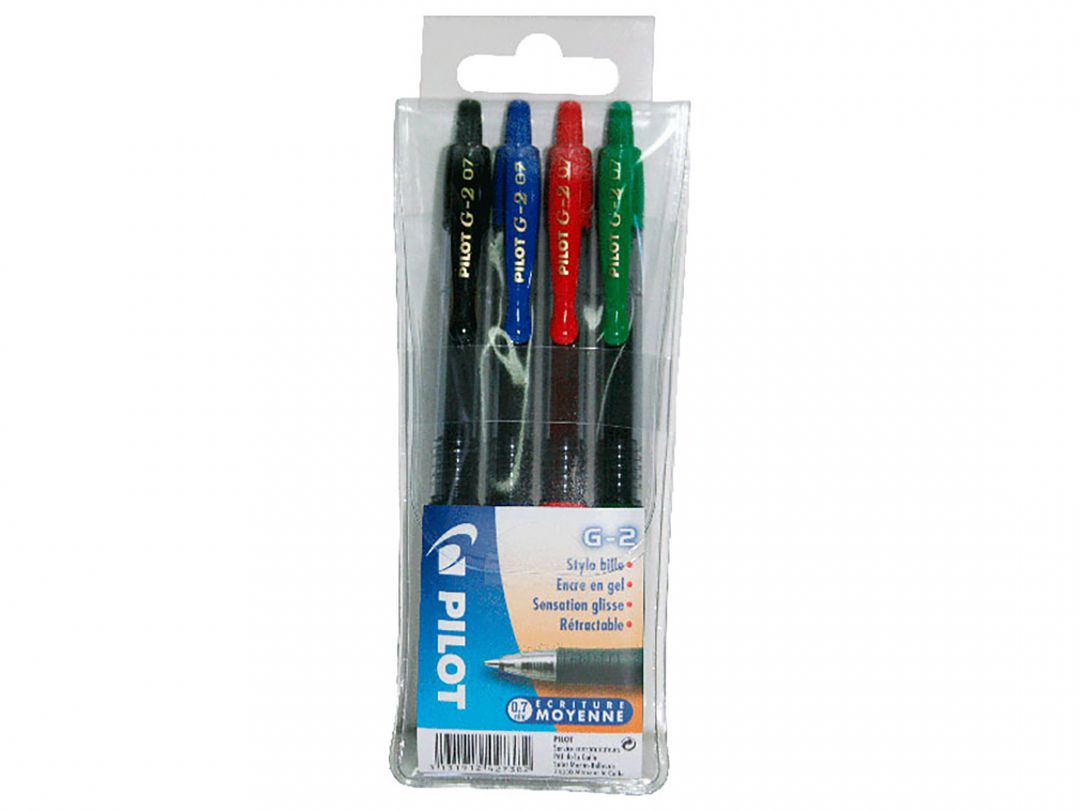 G-2 - Gel Ink Rollerball pen - Wallet of 4 - Black, Blue, Red, Green - Medium Tip