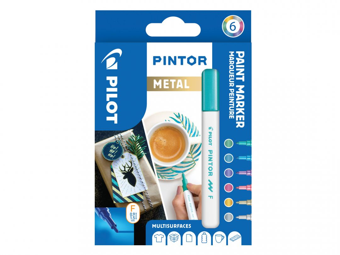 Pilot Pintor - Wallet of 6 - Metallic colours - Fine Tip