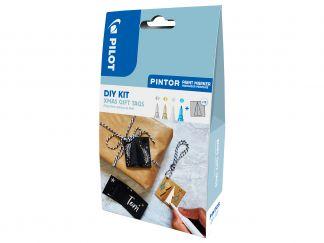 Pilot Pintor - DIY-Set Juletiketter - Silver, Guld, Vit, Metallic blå - Fine Spets