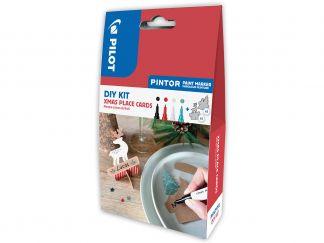 Pilot Pintor - DIY-Set Placeringskort för Jul - Svart, Röd, Vit, Metallic grön - Fine Spets