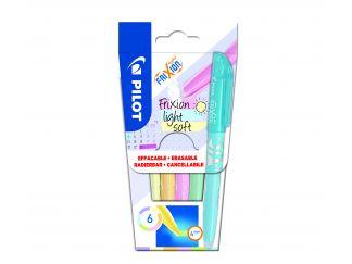 FriXion Light Soft - 6 pack - ljuslila , Ljusgul, Ljusorange, Ljusrosa , Pastell Grön, Pastell Blå - Medium Spets